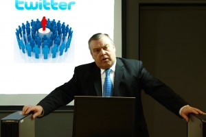 Ian McKendrick giving a Social Networking presentation about Twitter