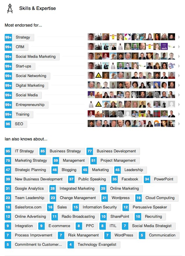 Ian McKendrick's LinkedIn Endorsements - October 2013